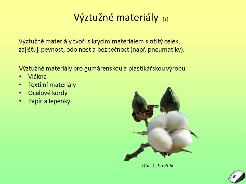 Výztužné materiály [1] Výztužné materiály tvoří s krycím materiálem složitý celek, zajišťují pevnost, odolnost a bezpečnost (např. pneumatiky).
